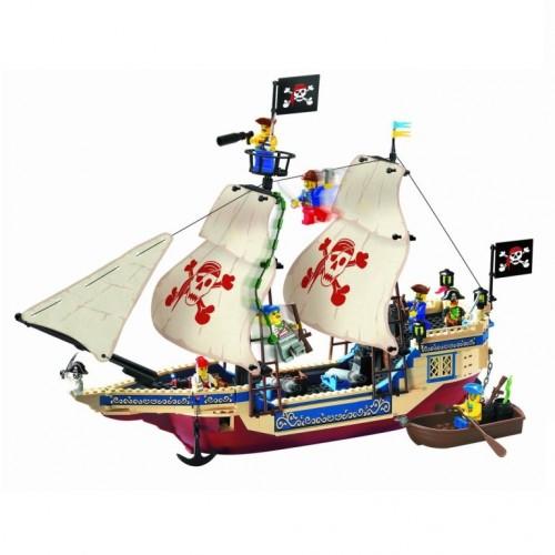 КОНСТРУКТОР  BRICK 311 Корабль с пиратами 487 деталей ,кор