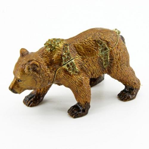 Шкатулка со стразами  BP-17681  Бурый медведь