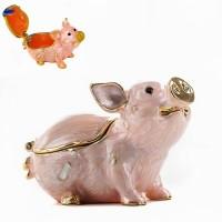 HG-21627  (48) Шкатулка Свинья с эмалью и стразами 3*6*4см