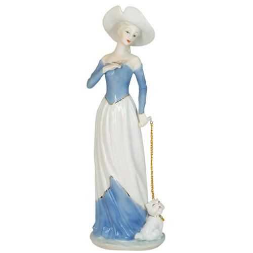 HP 058  (16) Статуэтка Дама в шляпе с собакой, фарфор 10*30 см