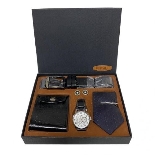 Набор  PJ9603 мужской, подарочный, часы, галстук, ремень, портмоне, 26*22*4см