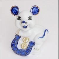 YW-00794 (144) Мышка с подковой, фарфор, 10*8*6см