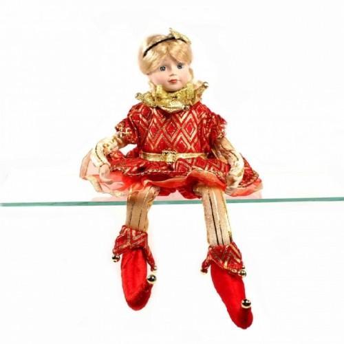 VEN1161  (1-24) Петрушка -девочка сидячая, муз/движ 41см