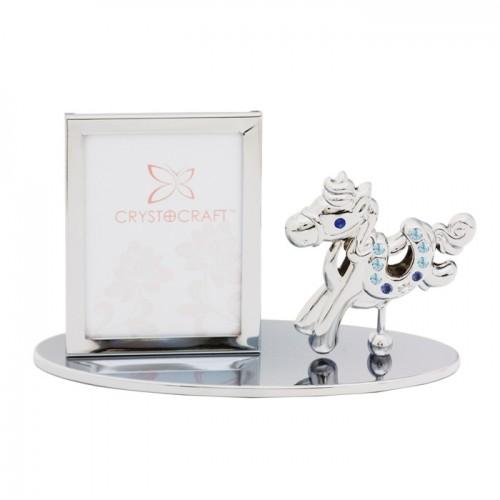 Crystocraft U0401-042-CBL Фигурка фоторамка с Лощадкой серебро