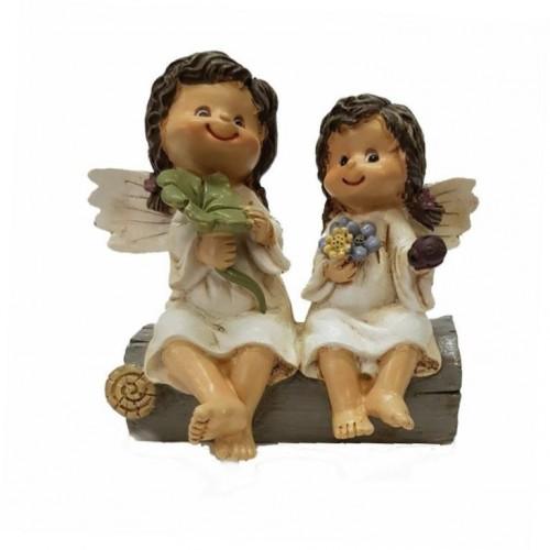 PLA17543  (1-48) Парочка девочек-ангелочков 10*8*9см