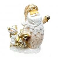 НФ018 Дед Мороз со снеговиком и елкой 34*15*42см