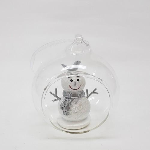 KEN78350  (3-72) Снеговик в шаре 8*7*9см