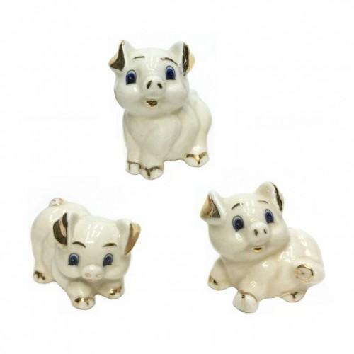 HEN27203  (3-432) Набор свинок 3в, фарфор 5*4*6см