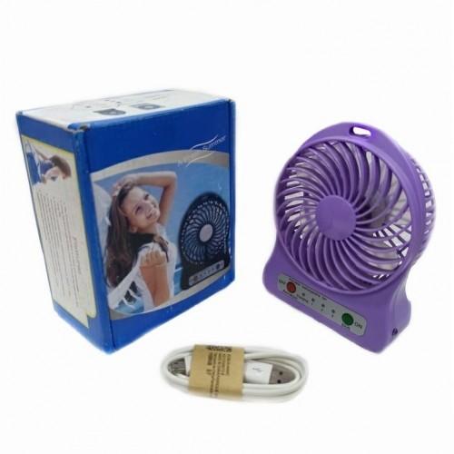 Вентилятор настольный на аккумуляторе F002 Usb. Фиолетовый 11*4*14см