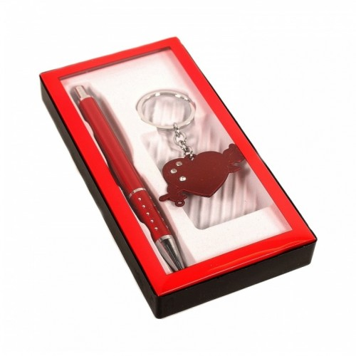 MML14328  (1-240) Набор -ручка металл. с брелком - сердце со стрелой  8.5*16*1.5 см