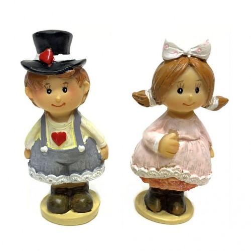 KB1887  (12-288) Фигурка Дети (мальчик, девочка) 4*3*8см