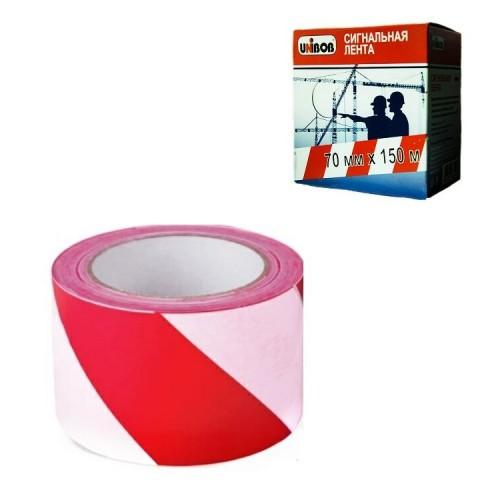 Лента сигнальная красно-белая, 70мм*150 м, UNIBOB, в коробке-диспенсере, основа полиэтилен