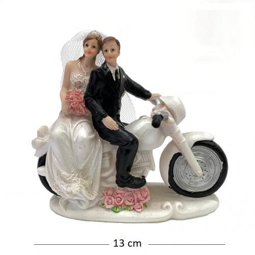 046010  (1-48) Статуэтка Свадебная пара на мотоцикле  13*6*12см