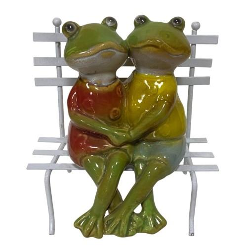 JY0195* Лягушки на скамейке 12,5*13,5