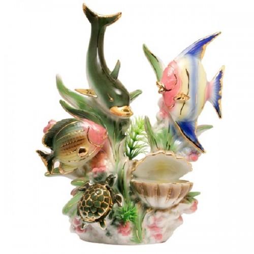 950330  (16) Фигурка Дельфин с рыбками и жемчуг .