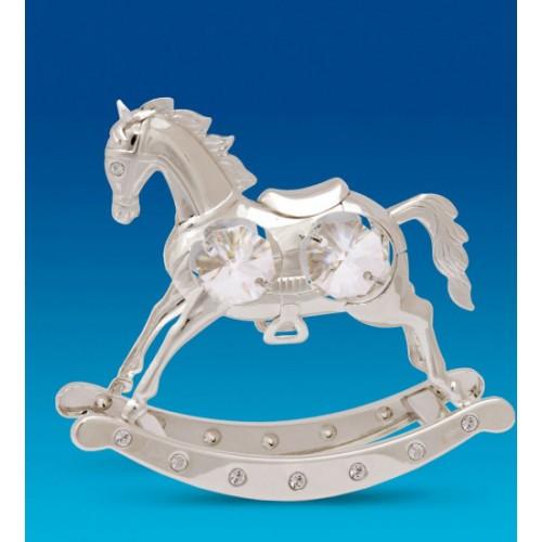 Swarovski   104  Фигурка  Лошадь качалка посеребренная с кристаллами.