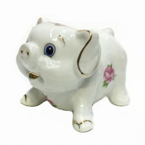 HEN27153  (1-120) Фигурка Свинка, фарфор 9*7*7см
