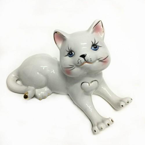 Статуэтка 46-032 (32) Кошка лежит фарфор 17*10см