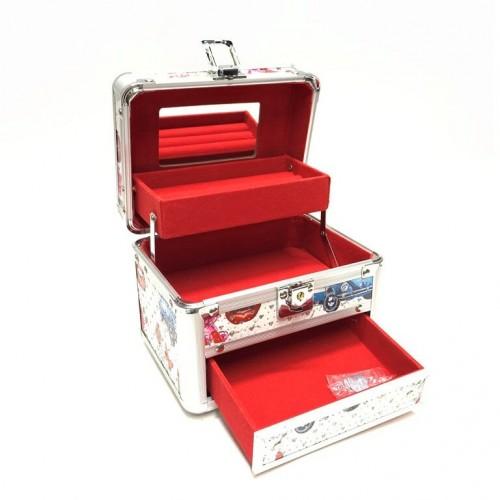 KH-1407 (24) Кейс-шкатулка для украшений, металл, 4 вида,17*13*14см