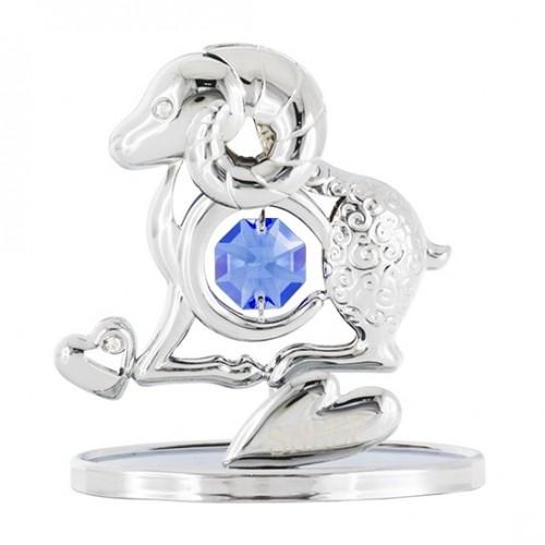 Crystocraft  U0347-001-CBLT Фигурка Овечка серебро, с голубым кристаллом
