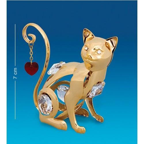 Swarovski      22  Фигурка  Кошка с сердцем с кристаллами.