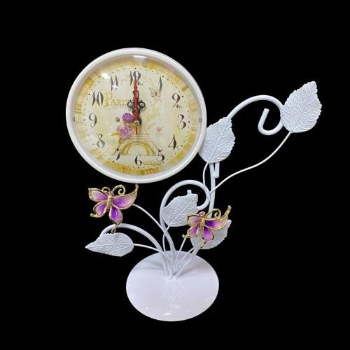MML15993  (1-36) Часы металлические белые с бабочками 20*12*27см