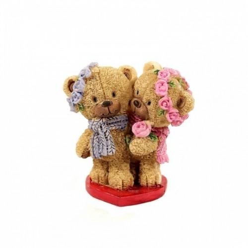 PLA17406  (1-144) Фигурка Пара медвежат на сердце 7*4*7см