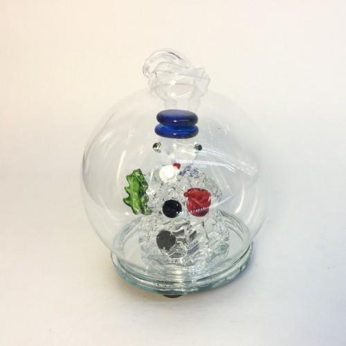 GLT10063  (1-96) Шар стекл. со снеговиком и светом 6см