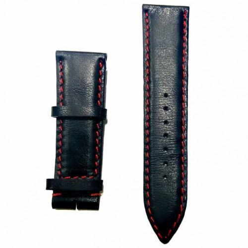 Ремешок  на часы  чёрный, натуральная кожа, ширина-24мм, 012 24