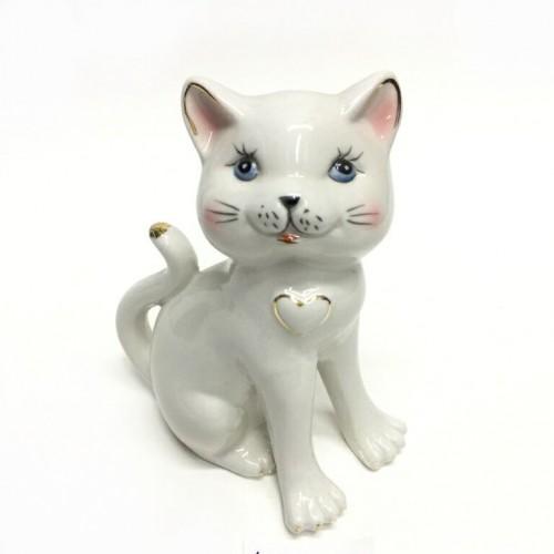 Статуэтка 46-040 (36) Кошка стоит фарфор 11*15см