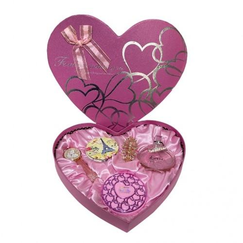 NS-702 Набор женский, подарочный , косметичка, зеркало, часы, брошь, туалетная вода 29*4,5*25см