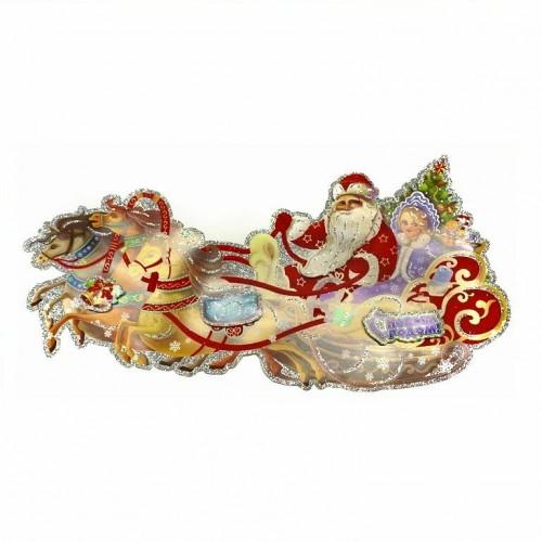 MML14213  (1-600) Дед Мороз и Снегурочка-наклейка 27*56см