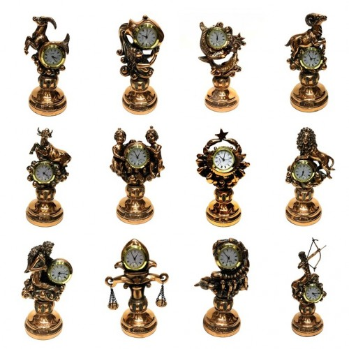 Статуэтка 1125-36 (24) Часы Знаки зодиака в ассортименте15см
